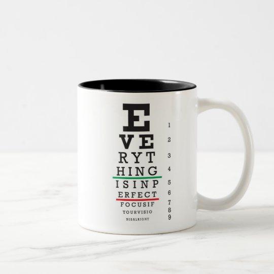 Optometry Eye Chart Illustration Two-Tone Coffee Mug