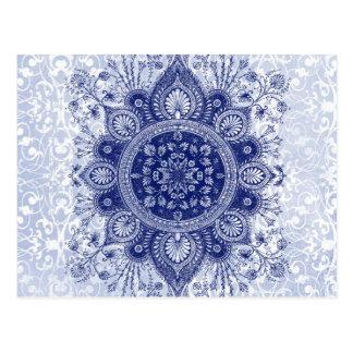 OPULENCE DAMASK: SKY BLUE ICE POST CARD