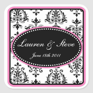 Opulent Damask Stickers bubblegum pink