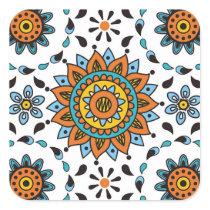 Opulent Maharaja India Star Flower Pattern Square Sticker