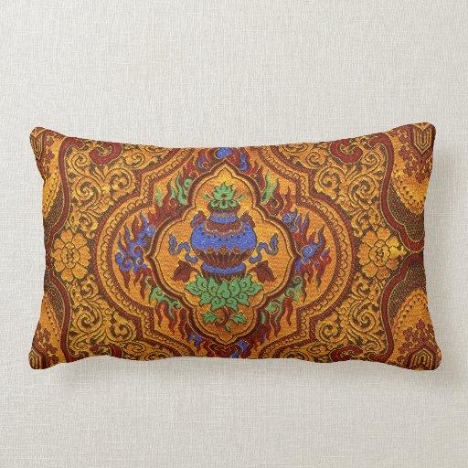 Opulent Oriental Silk Lumbar Pillow