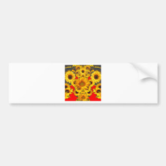 Opulent Red-Grey-Gold Sunflowers Pattern Bumper Sticker
