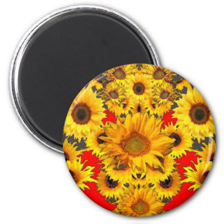 Opulent Red-Grey-Gold Sunflowers Pattern Magnet