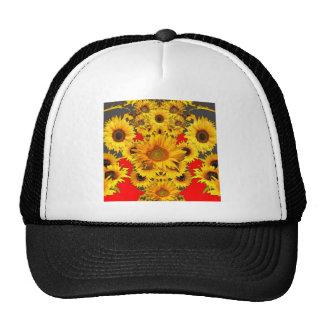 Opulent Red-Grey-Gold Sunflowers Pattern Trucker Hat