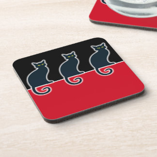 OPUS Black Cat on the Red Roof Beverage Coaster