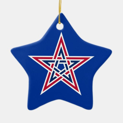 OPUS CHANGEABLE American Pentagram Double-Sided Star Ceramic Christmas Ornament