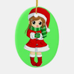 OPUS CHANGEABLE Japanese anime xmas and xmas bell Double-Sided Oval Ceramic Christmas Ornament