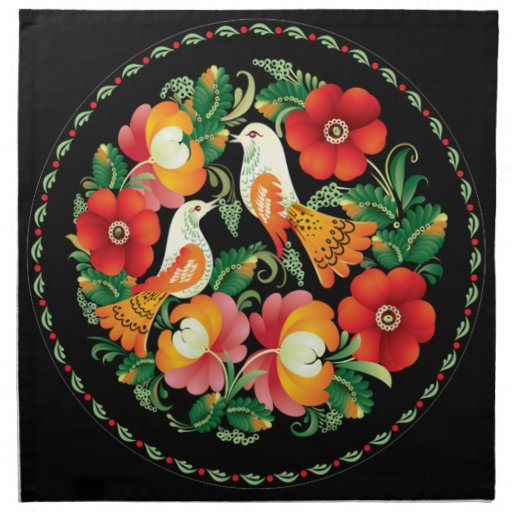 OPUS Hungarian Flower and Bird Printed Napkins