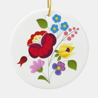 OPUS Hungarian Flower Embroidery Ceramic Ornament