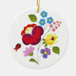 OPUS Hungarian Flower Embroidery Double-Sided Ceramic Round Christmas Ornament