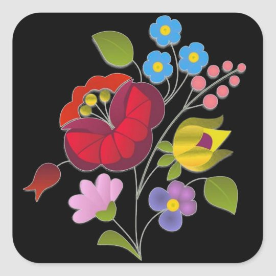 OPUS Hungarian Flower Embroidery Square Sticker