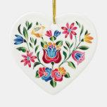 OPUS Hungarian Flower Heart Double-Sided Heart Ceramic Christmas Ornament