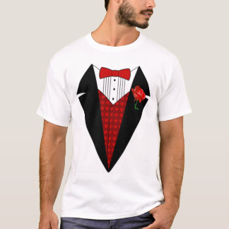 OPUS White Tuxedo with Red Rose T-Shirt
