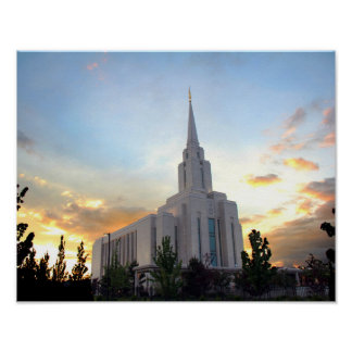 Oquirrh Mountain LDS temple utah mormon sunset Poster