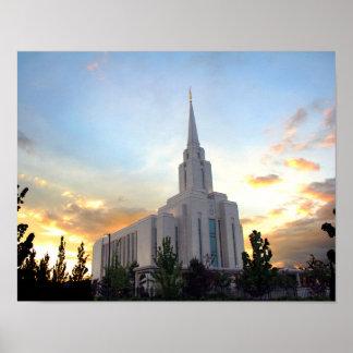 Oquirrh Mountain LDS temple utah mormon sunset Poster