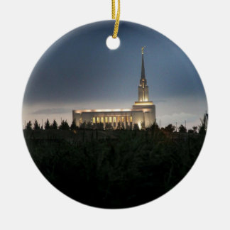 oquirrh mountain lds utah temple Double-Sided ceramic round christmas ornament