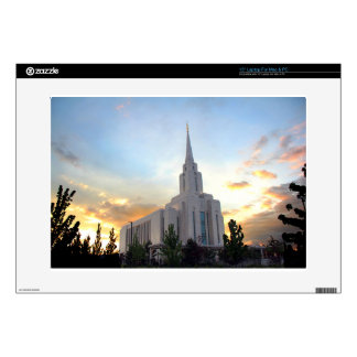 """Oquirrh Mountain LDS Utah Temple sunset Decals For 15"""" Laptops"""