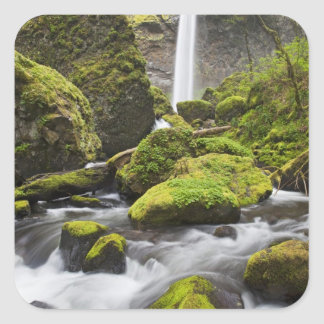 OR, Columbia River Gorge, Elowah Falls and Square Sticker