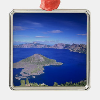 OR, Crater Lake NP, Wizard Island and Crater Metal Ornament