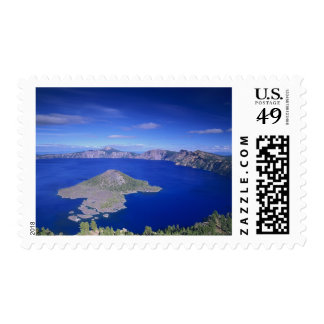 OR, Crater Lake NP, Wizard Island and Crater Postage Stamp
