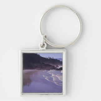 OR, Ecola SP, Indian Beach with morning fog Keychain