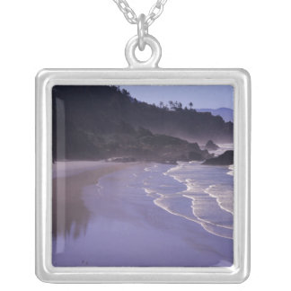 OR, Ecola SP, Indian Beach with morning fog Square Pendant Necklace