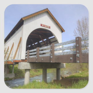 OR, Jackson County, Wimer Covered Bridge Square Sticker