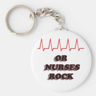 OR NURSES ROCK BASIC ROUND BUTTON KEYCHAIN