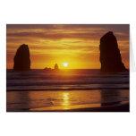 OR, Oregon Coast, Cannon Beach, seastacks at 2 Card