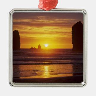 OR, Oregon Coast, Cannon Beach, seastacks at 2 Metal Ornament