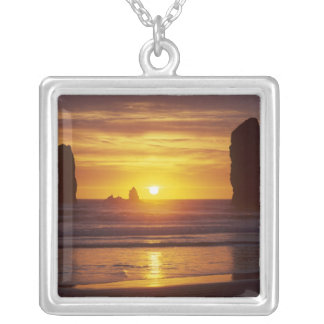 OR, Oregon Coast, Cannon Beach, seastacks at 2 Square Pendant Necklace