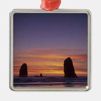 OR, Oregon Coast, Cannon Beach, seastacks at Metal Ornament