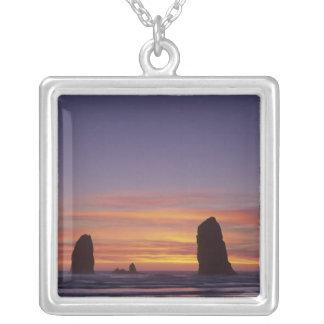 OR, Oregon Coast, Cannon Beach, seastacks at Square Pendant Necklace