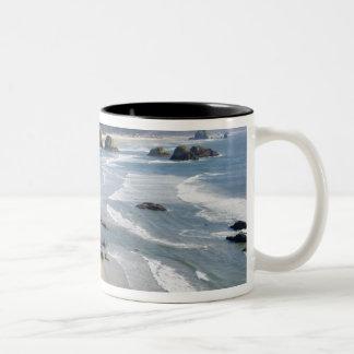 OR, Oregon Coast, Ecola State Park, Crescent 2 Two-Tone Coffee Mug