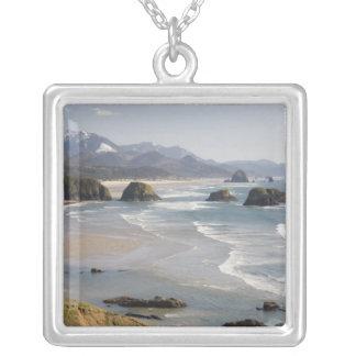 OR, Oregon Coast, Ecola State Park, Crescent Square Pendant Necklace