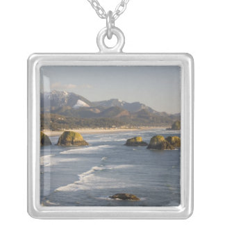 OR, Oregon Coast, Ecola State Park, view of 2 Silver Plated Necklace