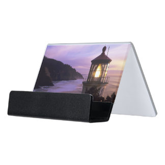 OR, Oregon Coast, Heceta Head Lighthouse on Desk Business Card Holder