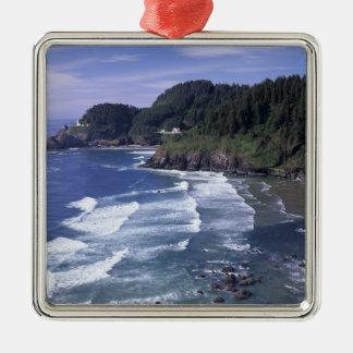 OR, Oregon Coast, Heceta Head Lighthouse, on Metal Ornament