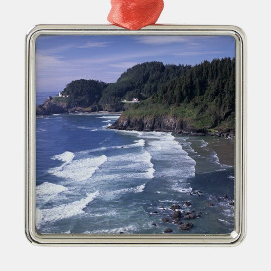 OR, Oregon Coast, Heceta Head Lighthouse, on Metal Ornament
