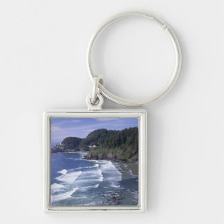 OR, Oregon Coast, Heceta Head Lighthouse, on Silver-Colored Square Keychain