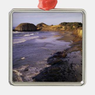 OR, Oregon Coast, Newport, shoreline at Seal Metal Ornament