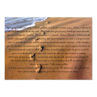 """Oração Pegadas na Areia 5"""" X 7"""" Invitation Card"""