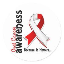 Oral Cancer Awareness 5 Classic Round Sticker