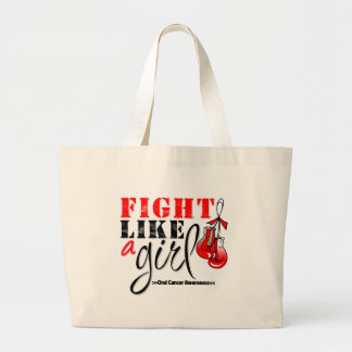 Oral Cancer Awareness Fight Like a Girl Jumbo Tote Bag