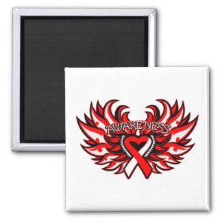 Oral Cancer Awareness Heart Wings png Refrigerator Magnets