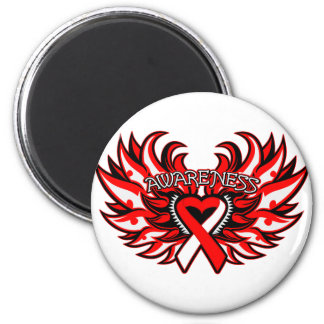 Oral Cancer Awareness Heart Wings png Fridge Magnets