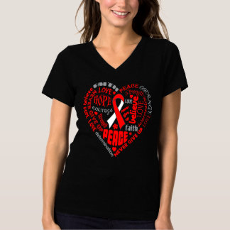 Oral Cancer Awareness Heart Words Tee Shirt
