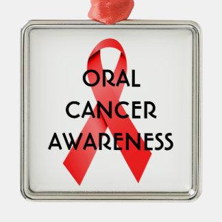 Oral Cancer Awareness Ribbon Metal Ornament