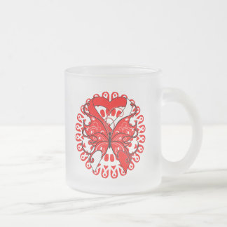 Oral Cancer Butterfly Circle of Ribbons 10 Oz Frosted Glass Coffee Mug