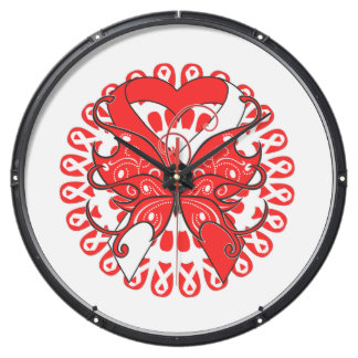 Oral Cancer Butterfly Heart Ribbon Aqua Clock
